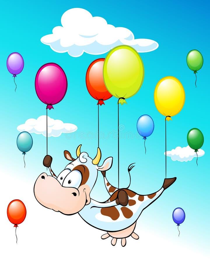 Lustiges Design mit Fliegenkuh mit Ballonen auf blauem Himmel mit Wolken stock abbildung