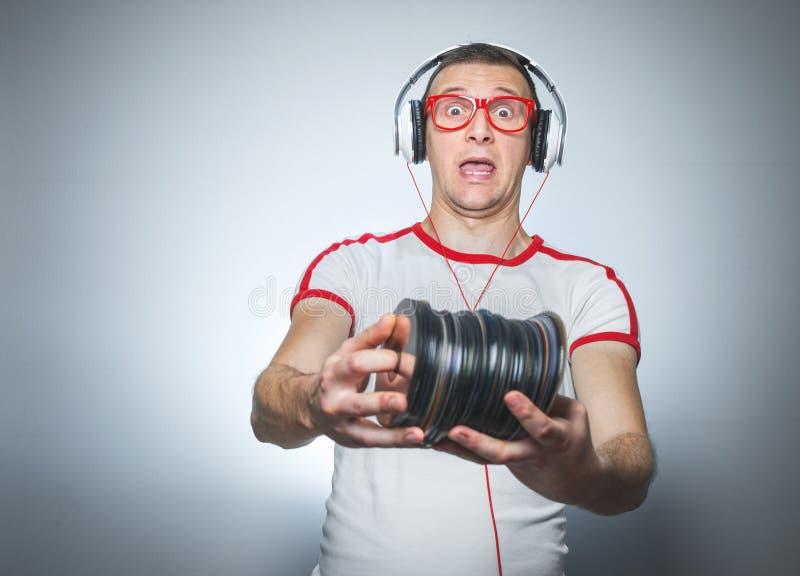 Lustiges DJ mit CDs lizenzfreies stockbild