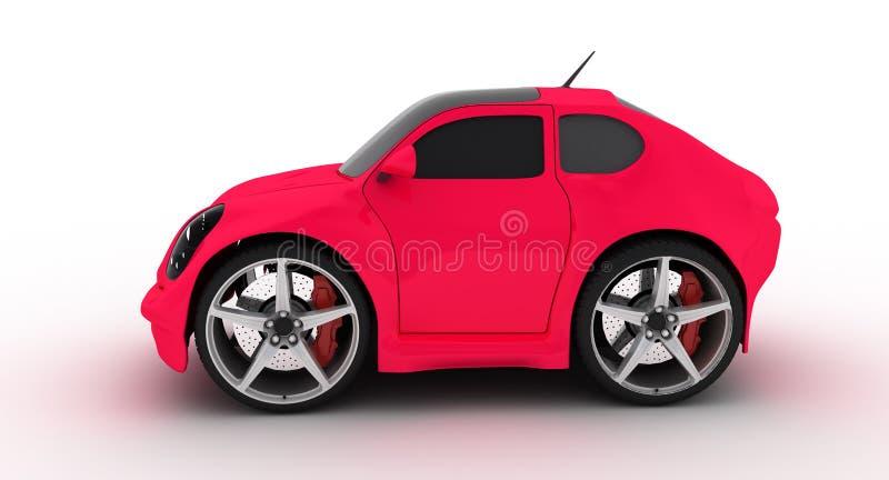 Lustiges fuxia Auto auf weißem Hintergrund lizenzfreie abbildung