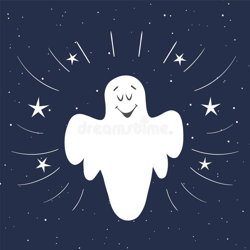 Lustiges Geistfliegen im nächtlichen Himmel Helloween Karte Hand gezeichnet stock abbildung