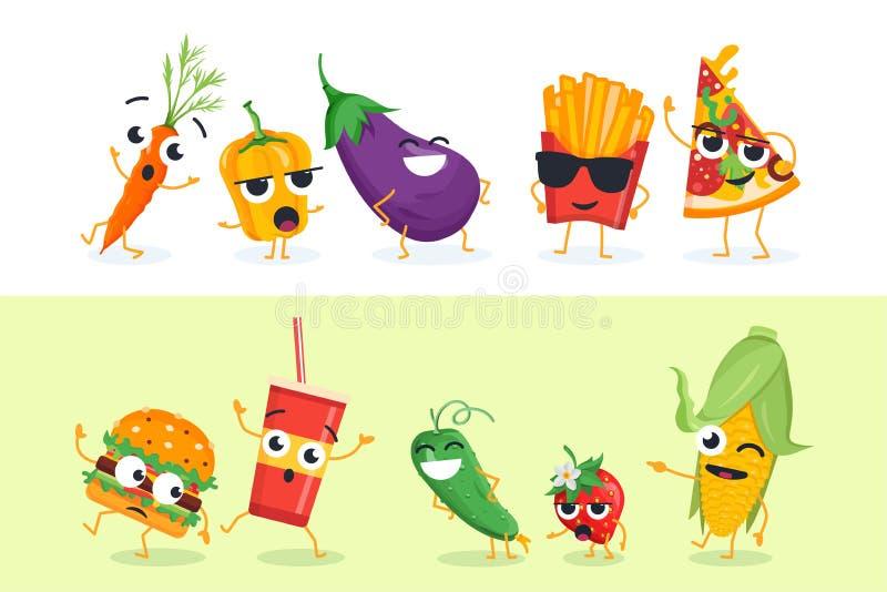 Lustiges Gemüse und Schnellimbiß - Satz Vektorcharakterillustrationen stock abbildung