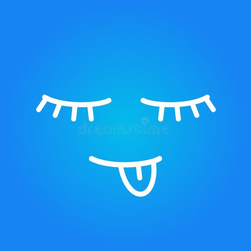 lustiges Gesicht, das Zunge blauen Hintergrund zeigend schläft stock abbildung