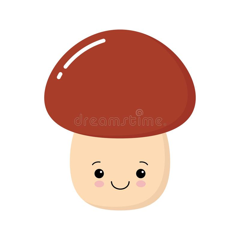 Lustiges gl?ckliches nettes l?chelndes Pilz porcini Zeichentrickfilm-Figur-Illustration kawaii Ikone des Vektors flache Getrennt  vektor abbildung