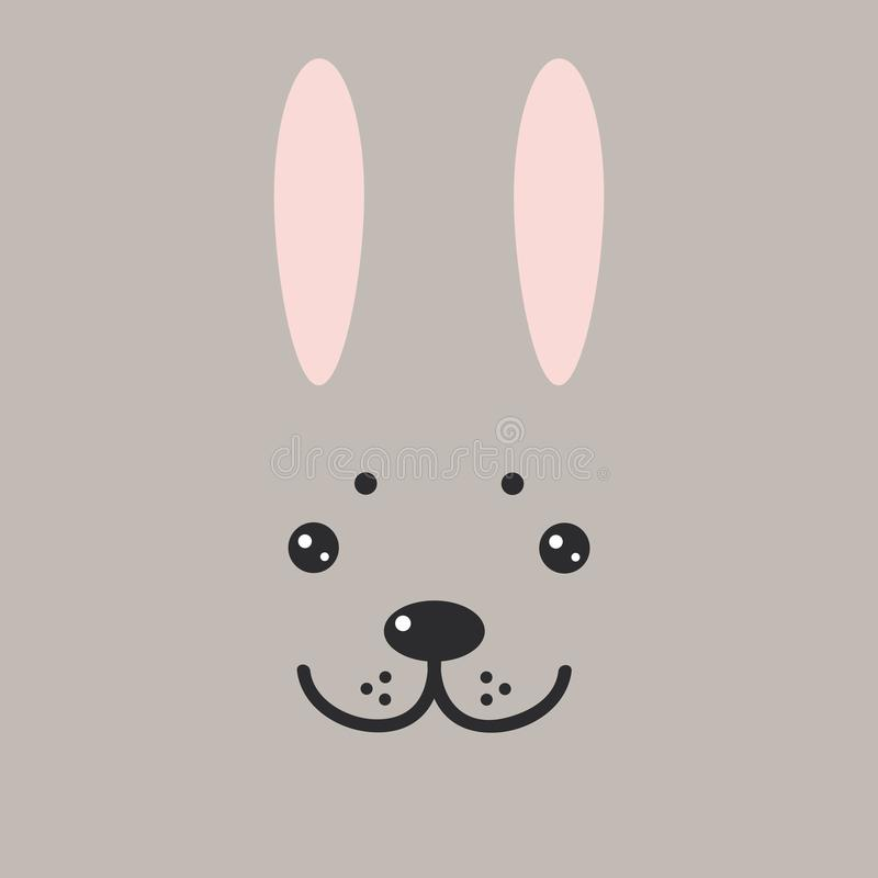 Lustiges Häschenhase-Kaninchengesicht auf grauem Hintergrund Vektor lizenzfreie abbildung