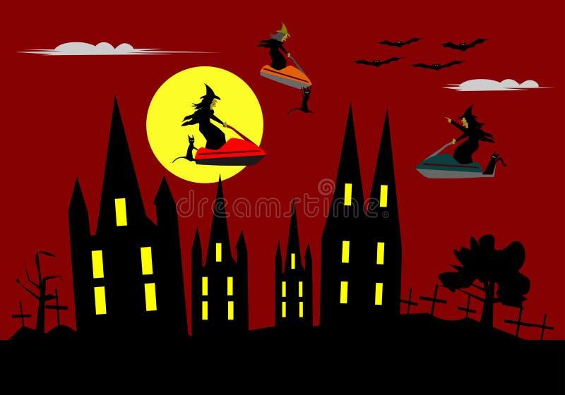 Lustiges Halloween, reiten drei Hexen einen Jet-Ski auf roten Himmel lizenzfreie abbildung