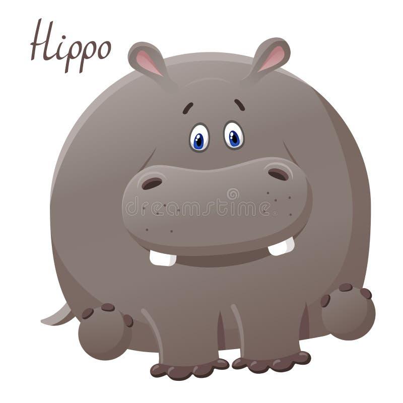 Lustiges hoppo Nilpferd Vektorgru?karte mit netter fetter Zeichentrickfilm-Figur Das Konzept des Spaßentwurfs für Kleidung und stock abbildung