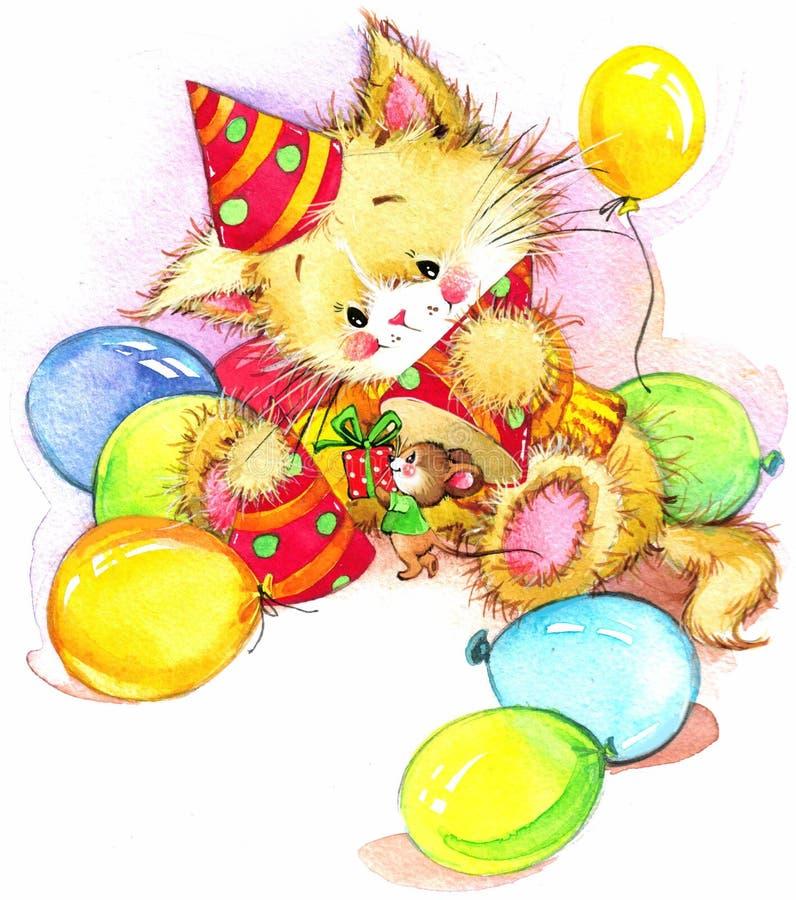 Lustiges Kätzchen Dekor für Kindgeburtstagshintergrund für Feiertag wat stock abbildung