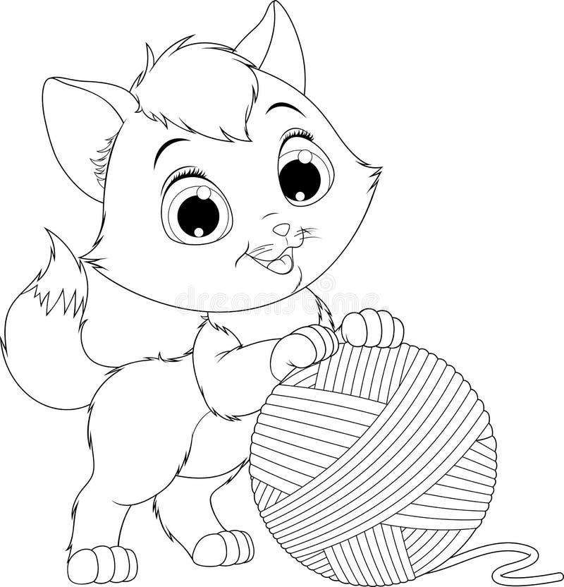 Lustiges Kätzchen mit einem Ball von Threads lizenzfreie abbildung