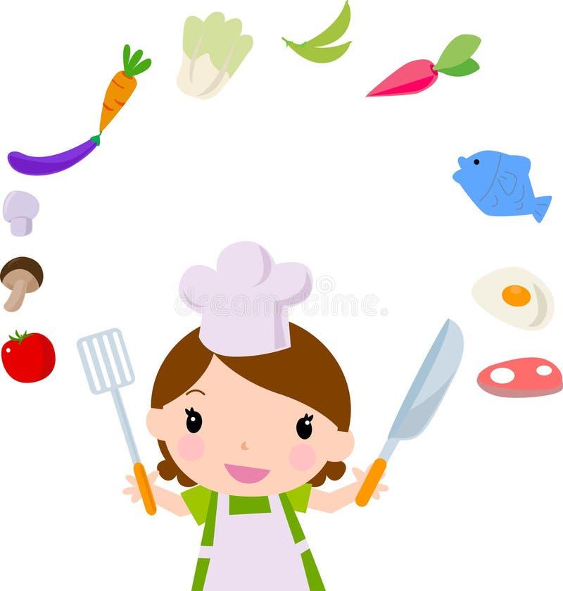 Lustiges Küchemädchen stock abbildung