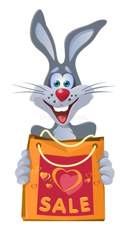 Lustiges Kaninchen hält Einkaufstasche vom Verkauf stock abbildung