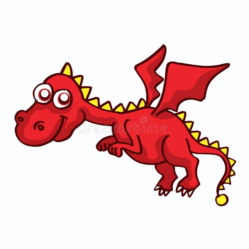 Lustiges Karikaturdesign des roten Drachen für Kinder vektor abbildung