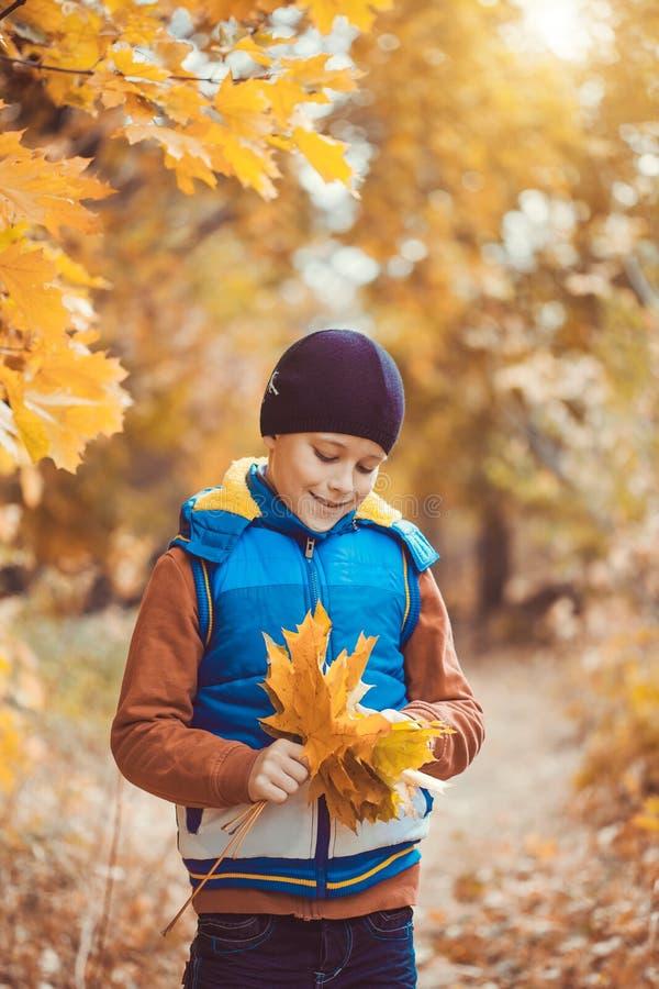 Lustiges Kind auf einem Hintergrund von Herbstbäumen lizenzfreies stockbild