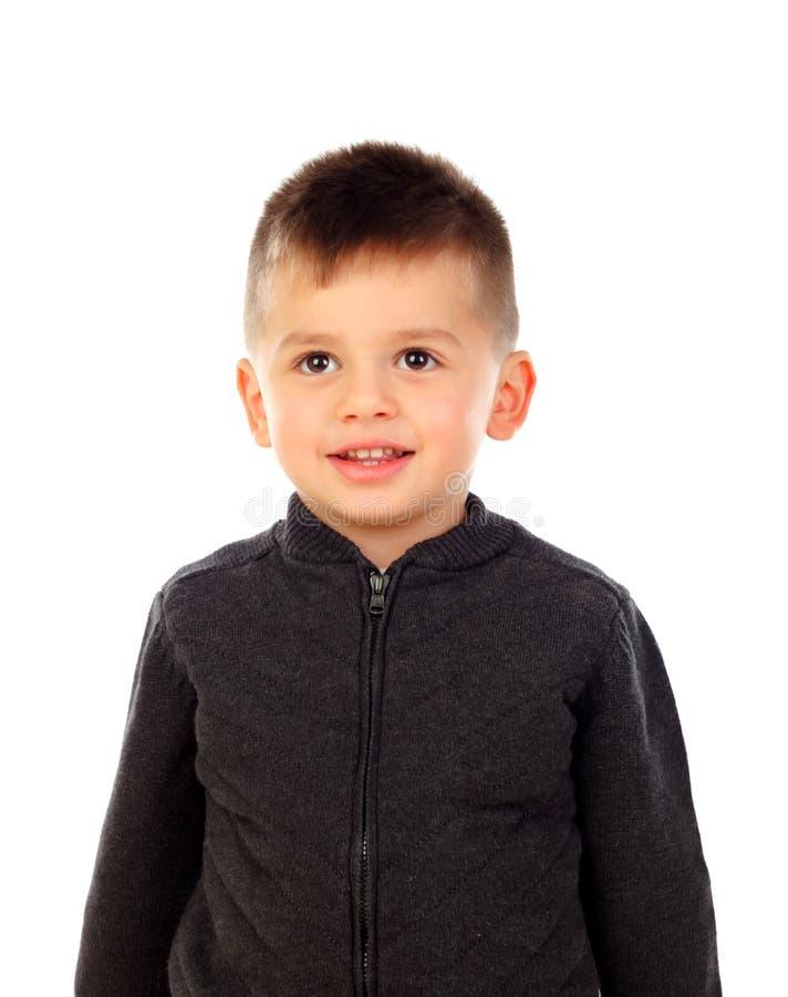 Lustiges kleines Kind mit stockfoto