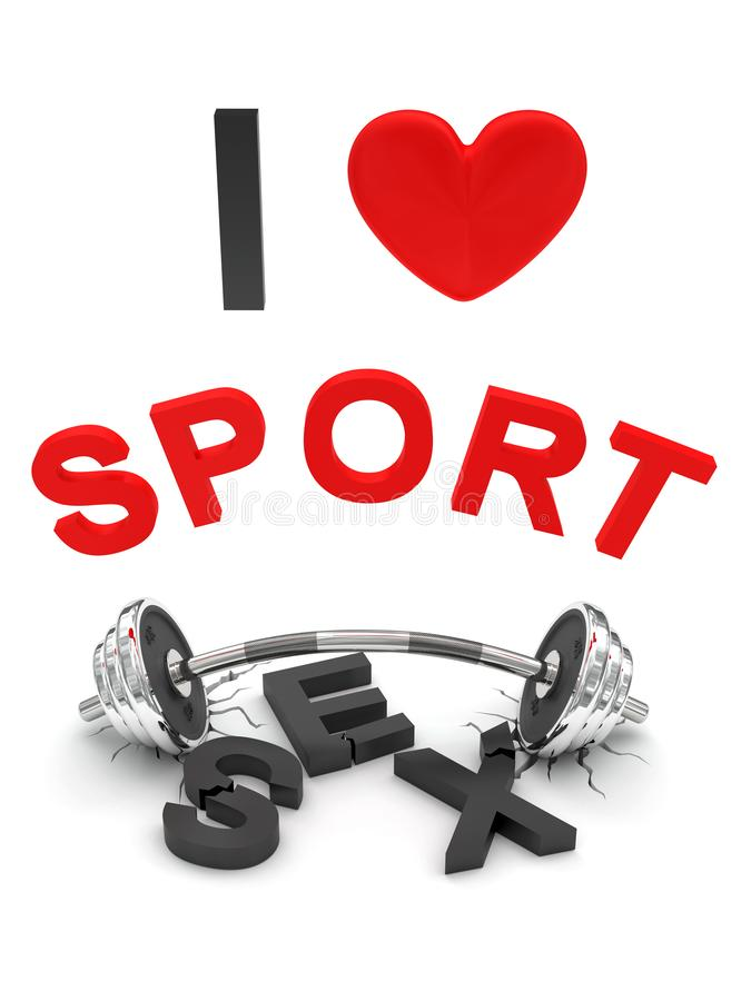 Lustiges Konzept 'ich liebe Sport ' lizenzfreie stockfotos