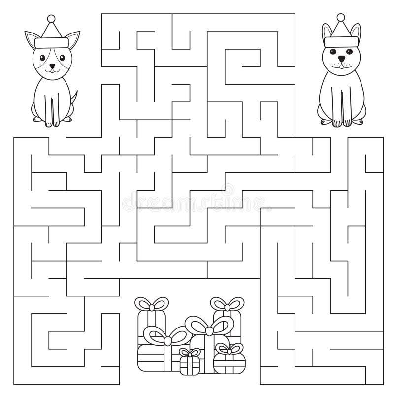 Lustiges Labyrinth für Kinder Hunde suchen nach Geschenken vektor abbildung