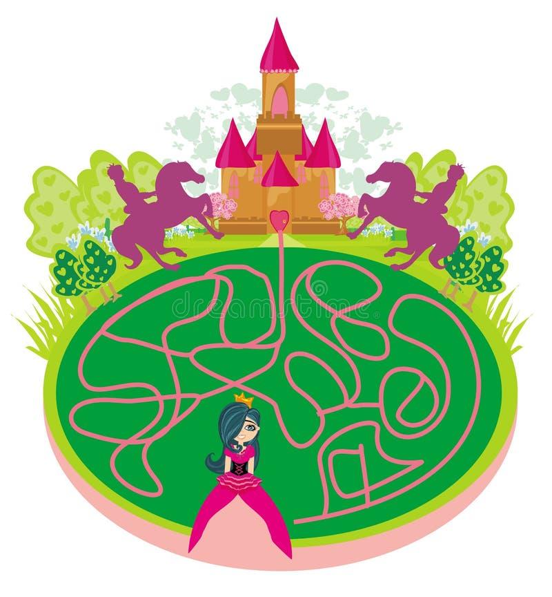 Lustiges Labyrinthspiel - Prinzessin, die nach einer Weise zum Schloss sucht vektor abbildung