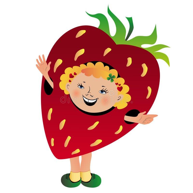 Lustiges Mädchen in der Erdbeereklage stockfoto