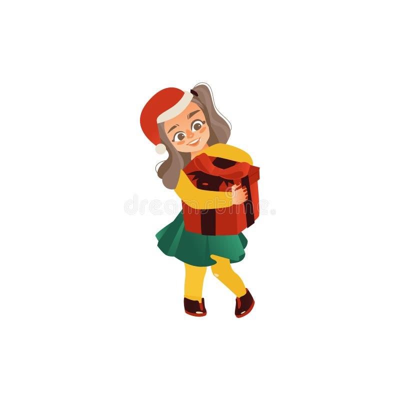 Lustiges Mädchen in Sankt-Hut, der Weihnachtsgeschenk hält vektor abbildung