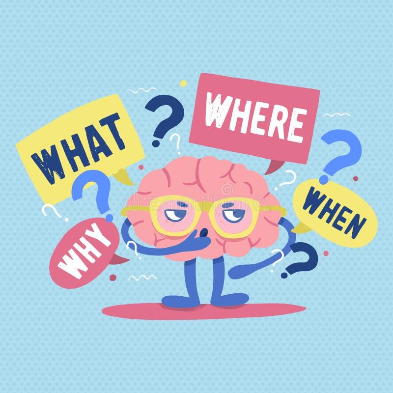 Lustiges menschliches Gehirn mit den Gläsern, die durch Fragen und Befragungspunkte umgeben werden, denkt oder löst Problem oder  lizenzfreie abbildung