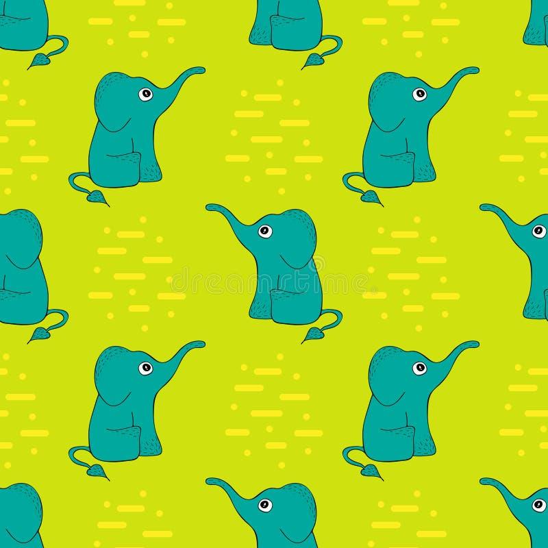 Lustiges nahtloses Muster mit netten Elefanten stock abbildung