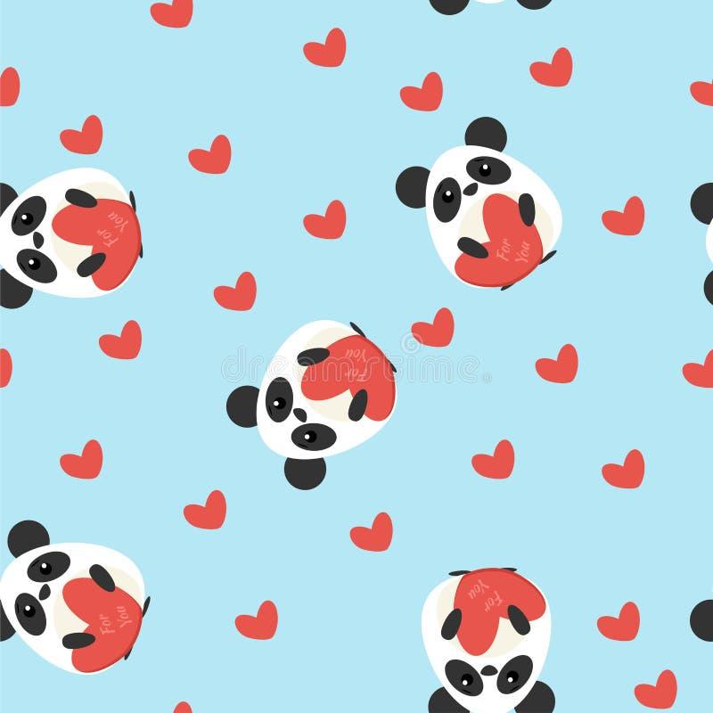 Lustiges nahtloses Muster mit netten Pandas und Herzformen stock abbildung