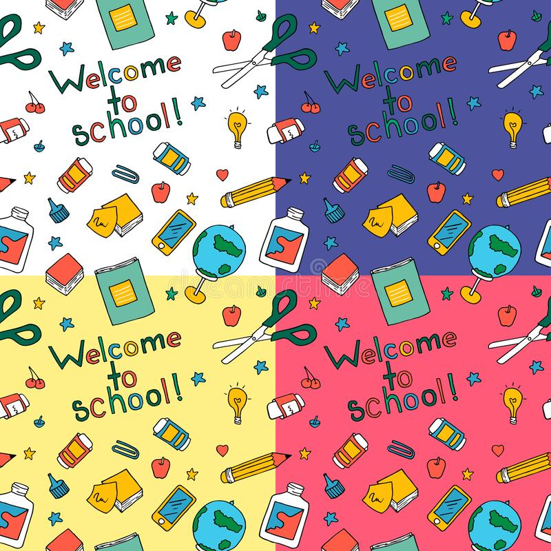 Lustiges nahtloses Muster mit Schulbedarf und kreativen Elementen stock abbildung