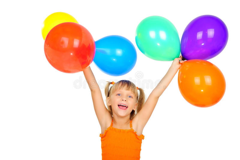 Lustiges nettes kleines Mädchen mit baloons lizenzfreie stockbilder