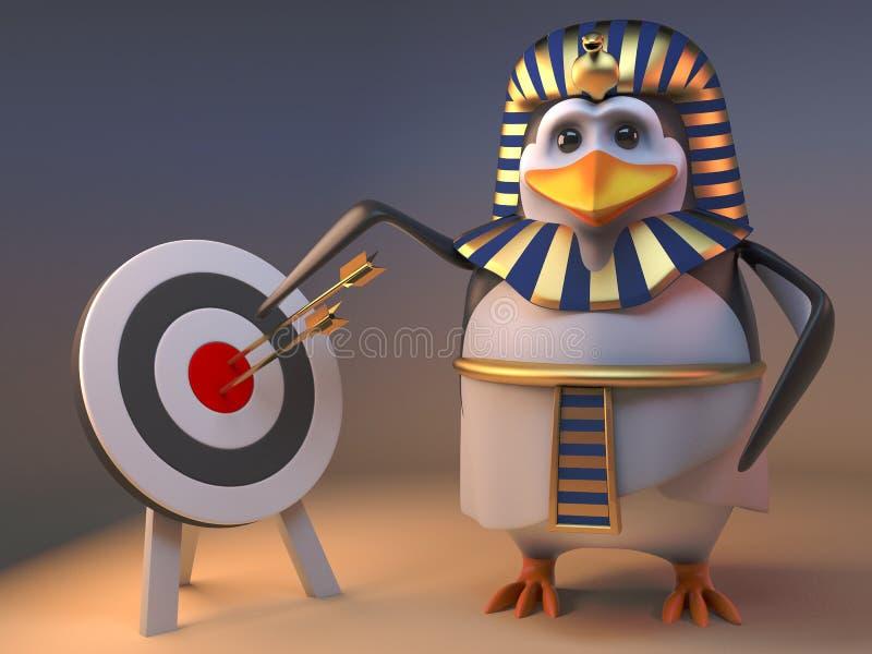 Lustiges Pinguinpharao Tutankhamun der Karikatur 3d zeigt auf das Bullauge auf einem Ziel, Illustration 3d stock abbildung