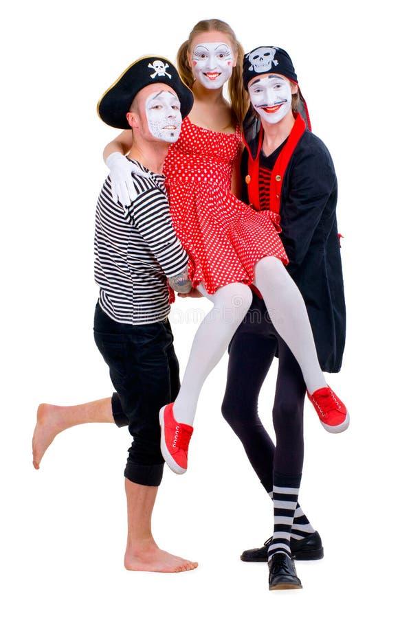 Lustiges Porträt von Pantomimen lizenzfreie stockfotografie