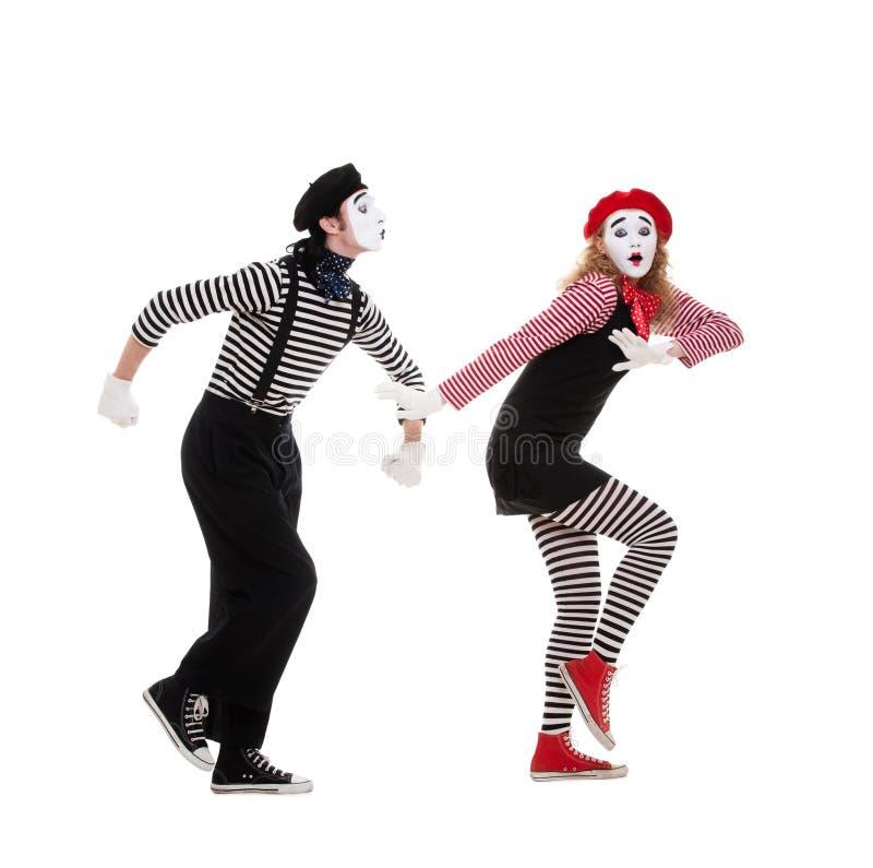 Lustiges Portrait der Pantomimen stockbilder