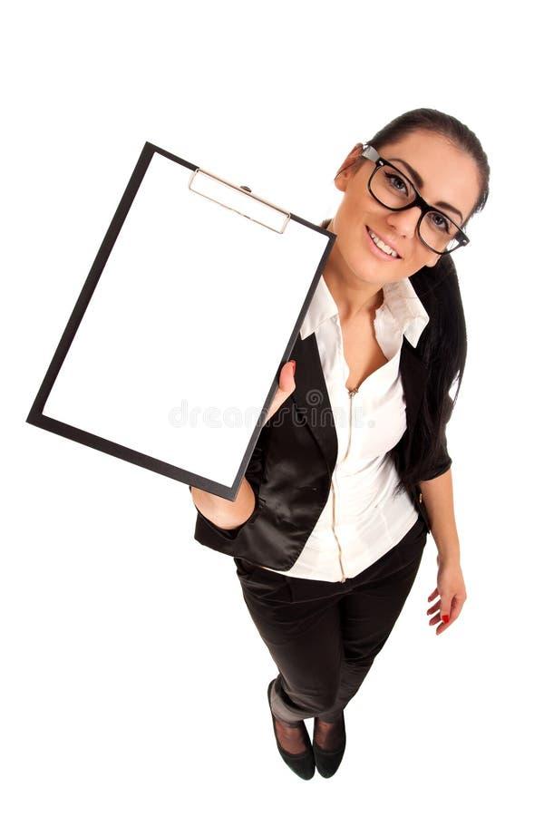 Lustiges Portrait des Frauenholding-Klippvorstands lizenzfreie stockfotografie