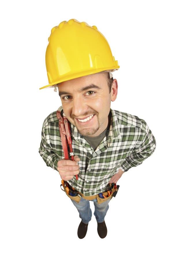 Lustiges Portrait des Heimwerkers stockbilder