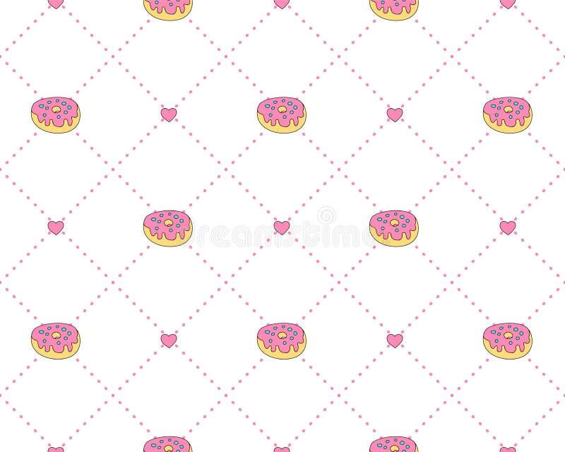 Lustiges Prinzessinmuster mit geometrischer Struktur und süßen Schaumgummiringen Donutbonbon-Prinzessinmuster, nette Jugendmode vektor abbildung