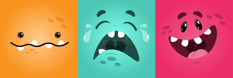 Lustiges quadratisches Monster des Vektors stellt mit verschiedenen Gefühlen, Lächeln, Emoticonsatz für Boten, Aufkleber, Soci lizenzfreie abbildung