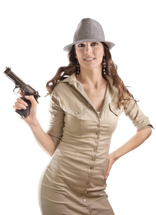 Lustiges Retro- Mafiamädchen stockbild