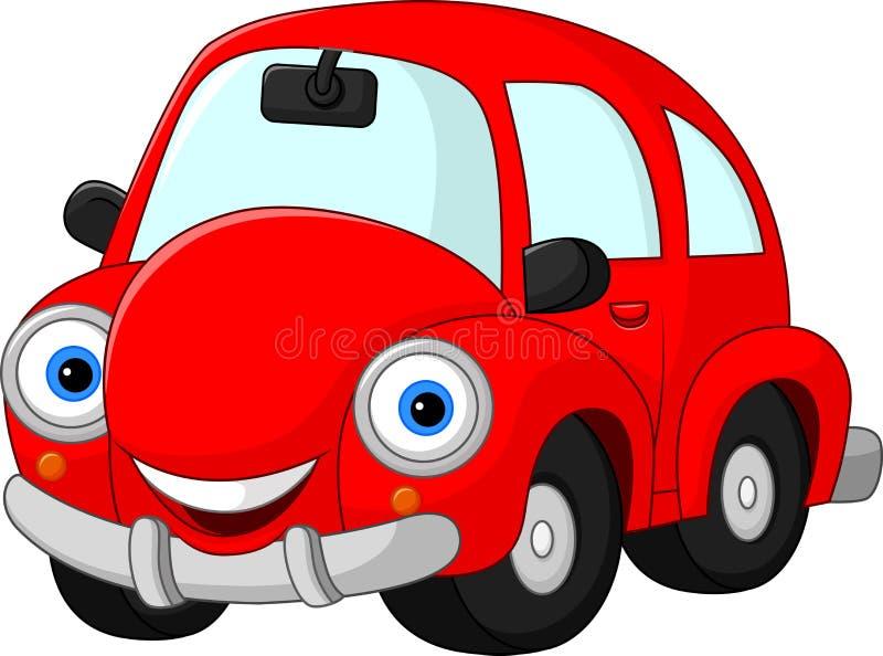 Lustiges rotes Auto der Karikatur lizenzfreie abbildung