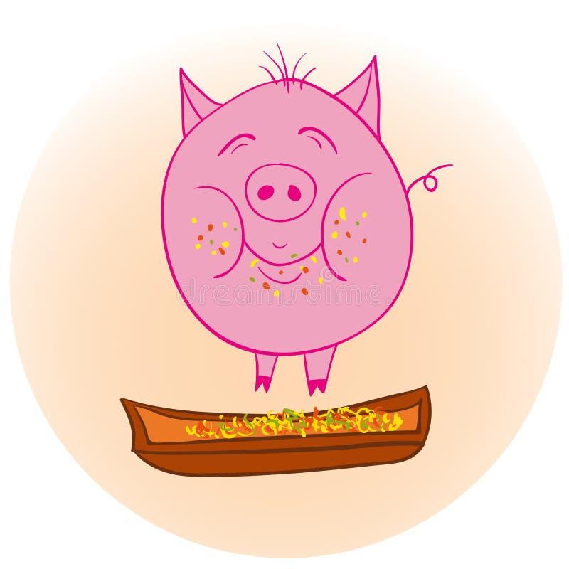 Lustiges schmutziges Schwein lizenzfreie abbildung
