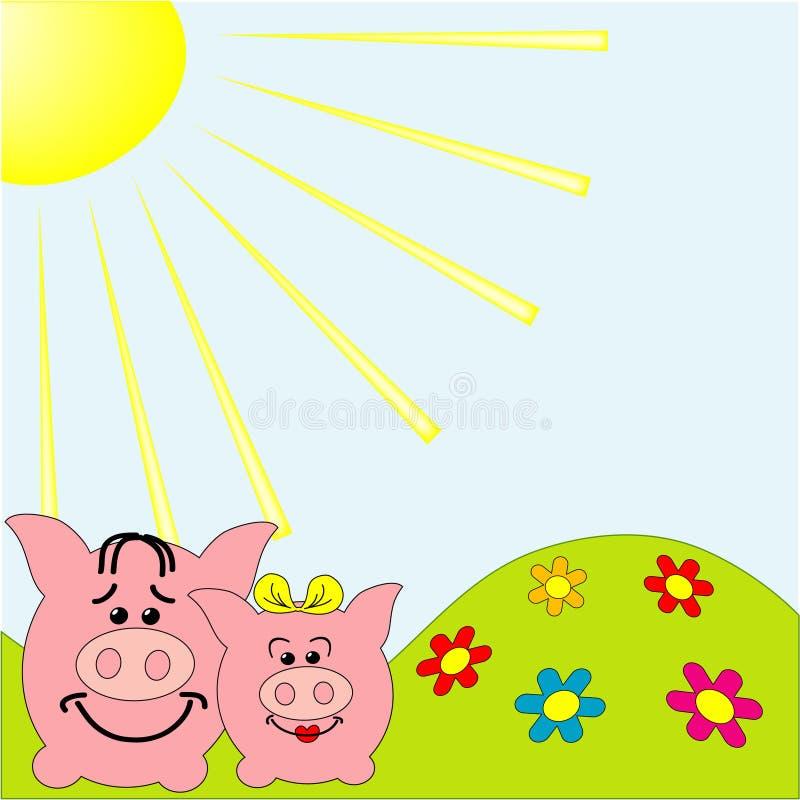 Download Lustiges Schwein vektor abbildung. Illustration von sommer - 12200565