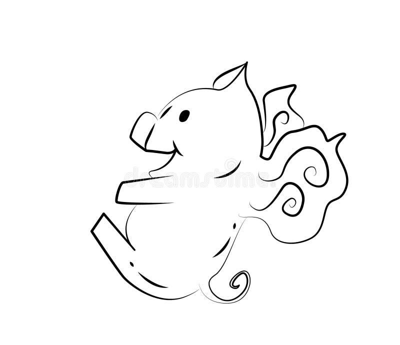 Lustiges Schwein mit Flügel auf einem weißen Hintergrund stock abbildung