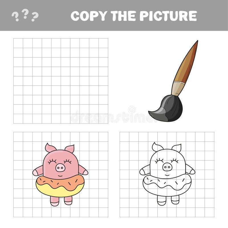 Lustiges Schwein Schlie?en Sie die Bildkinder ab, die Spiel zeichnen lizenzfreie abbildung