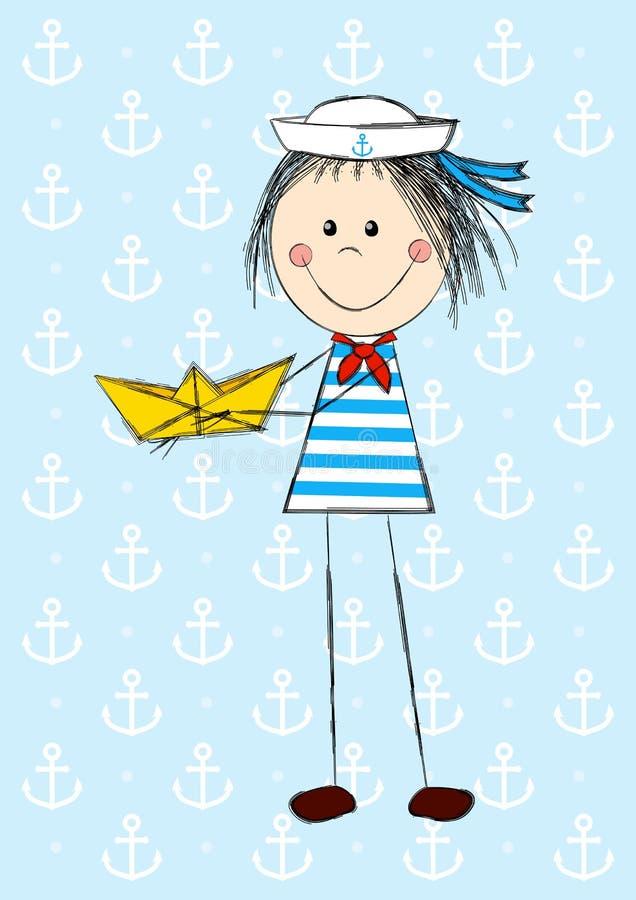 Lustiges Seemannmädchen stock abbildung