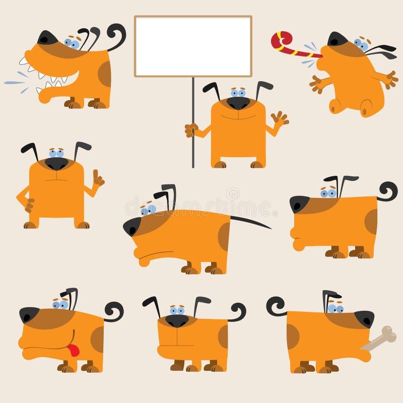 Download Lustiges Set Der Karikatur Gelber Hunde Vektor Abbildung - Illustration von zeichen, künstlerisch: 26363493