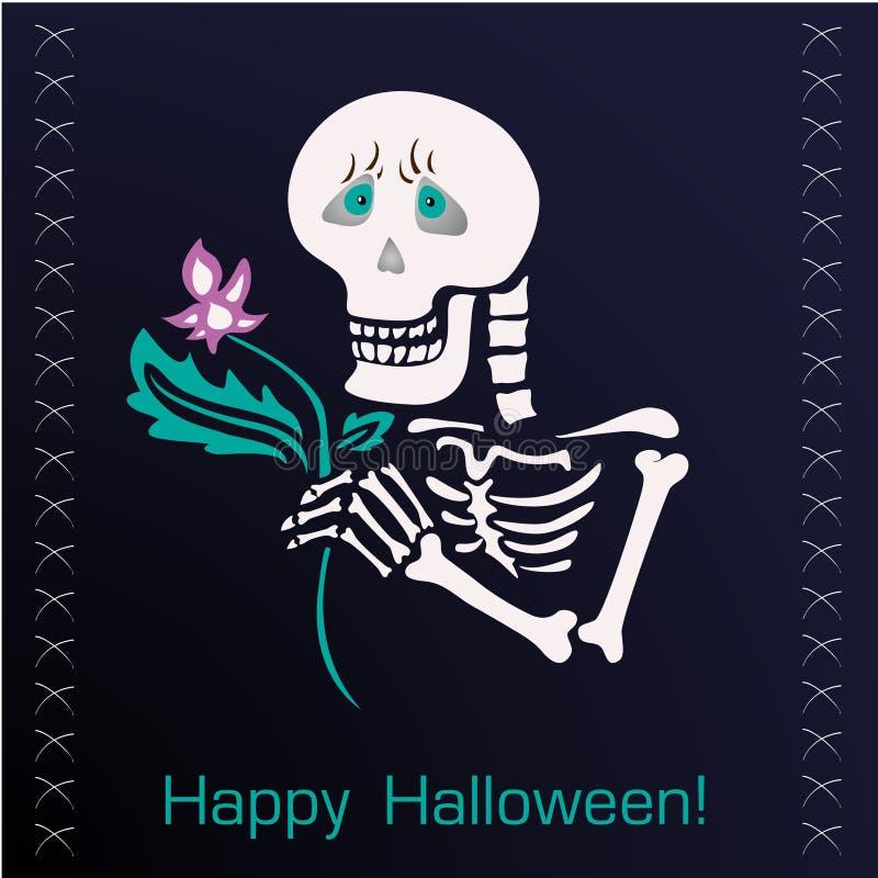 Lustiges Skelett mit einer Blume auf dunklem Hintergrund stockfotografie