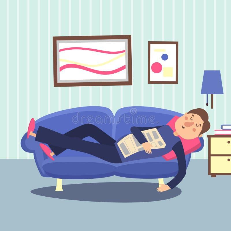 Lustiges Sofa des Schlafenmannes zu Hause mit Zeitung Entspannende Personenvektorillustration lizenzfreie abbildung