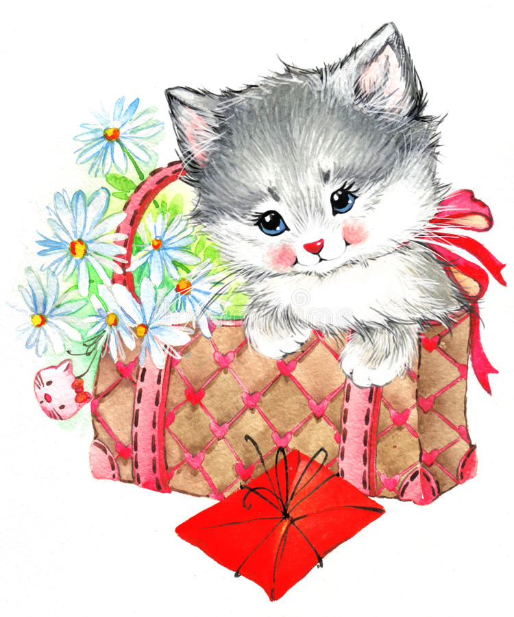 Lustiges Tierkätzchen watercolor lizenzfreie abbildung