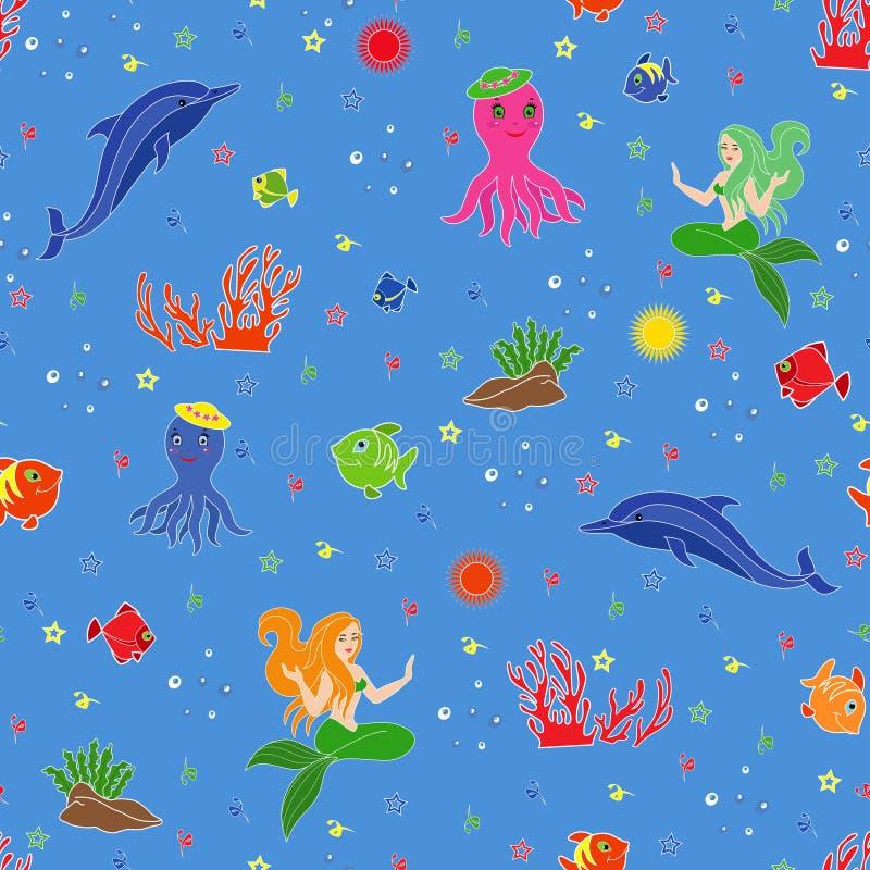 Lustiges Unterwassermeeresflora und -fauna vektor abbildung