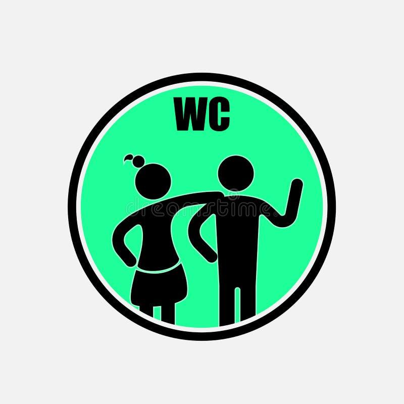 Lustiges WC, Toilette, Toilettentürschildsymbole Mann-und Frauen-Toilette vektor abbildung