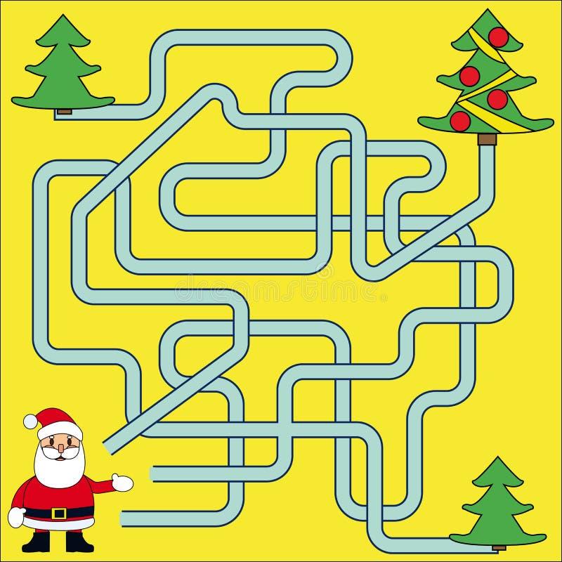 Lustiges Weihnachten Maze Game: Santa Claus Neues Jahr-Vektorillustration lizenzfreie abbildung