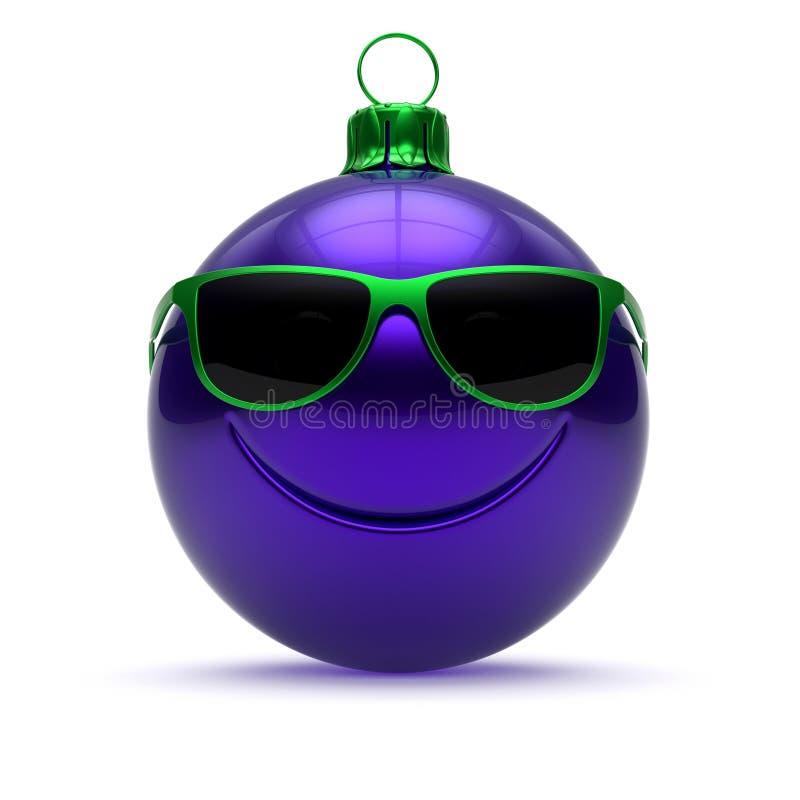 Lustiges Weihnachtsballgesicht blaue Silvesterabend-Flitterkarikatur stockbilder