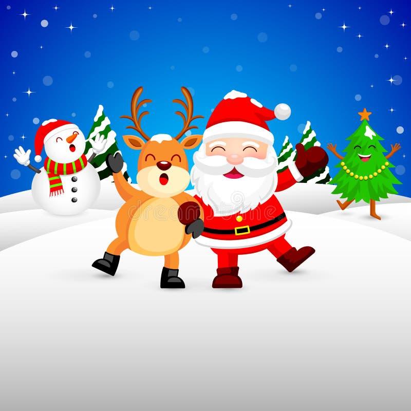 Lustiges Weihnachtscharakterdesign auf Schnee, Santa Claus-, Schneemann-, Weihnachtsbaum und Ren lizenzfreie abbildung